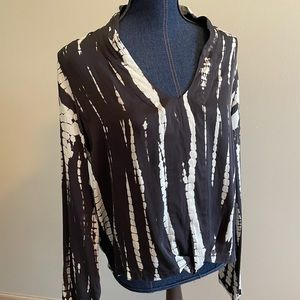 Gypsy Tie Dye Print Silk Blouse Deep V Long Sleeve